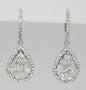 18k White Gold 2.98tcw Diamond Teardrop Dangle Drop Earrings 1.3 33.3mm E29