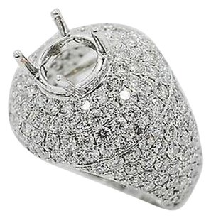 18k White Gold 5ct Diamonds Ladies Cluster Ring 6.75