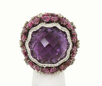 18k White Gold 60.88ctw Amethyst Diamond Pink Sapphire Cocktail Ring