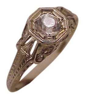18k White Gold Antique Victorian Old Cut White Stone From 1800s