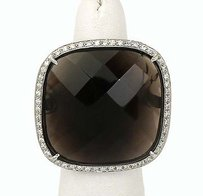 Other 18k White Gold Diamond Smokey Quartz Ladies Solitaire Cocktail Ring