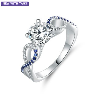 Other 18k White Gold Plated blue infinity ring