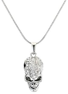 18K White Gold Plated Crystal Skull Necklace