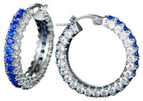 Other 18K White Gold Plated Cubic Zirconia 3-Row Hoop Earrings #1648