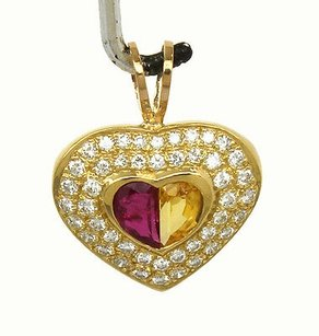 Other 18k Yellow Gold 3.0ctw Diamond Citrine Pink Tourmaline Heart Pendant