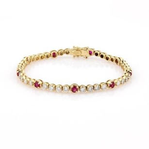 18k Yellow Gold 5.10ctw Diamond Ruby Tennis Bracelet