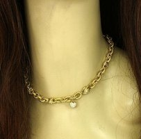 18k Yellow Gold .90ctw Diamond Ladies Fancy Chain Link Necklace.