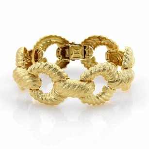 Other 18k Yellow Gold Fancy Textured Shell Open Ring Design Wide Bracelet 76 Grams