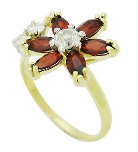 Other 18k Yellow Gold Marquise Cut Garnet Round Cut Diamond Flower Ring 4.2g R666