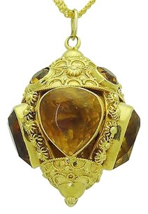Other 18k Yellow Gold Pear And Round Cut Citrine Sculpted Pendant Charm 23.1g N365