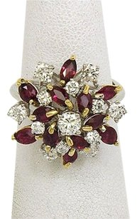 18k Yellow White Gold 3.05ctw Diamonds Rubies Ladies Floral Cluster Ring