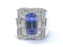18kt Gem Tanzanite Multi Shape Diamond White Gold Jewelry Ring 7.08ct Unisex