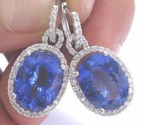 18kt Gem Vivid Tanzanite Diamond White Gold Drop Earrings 1.25 14.88ct
