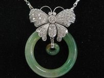 Other 18kt Jade Diamond Butterfly White Gold Pendant Necklace 16 1.00ct