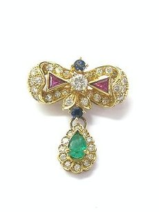 Other 18kt Multi Gem Diamond Jewelry Pendant Yellow Gold 1.90ct