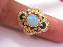 Other 18kt Opal Onyx Diamond Jewelry Ring Yg 2.15ct