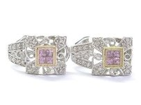 18kt Pink Sapphire Diamond White Gold Milgrain Huggie Earrings 1.12ct