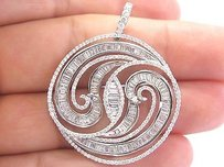 18kt Round Baguette Diamond White Gold Circular Bypass Jewelry Pendant 3.26ct