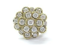 Other 18kt Round Cut Diamond Cluster Circular Yellow Gold Jewelry Ring 2.28ct