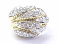 18kt Round Cut Diamond Cluster French Designer Yellow Gold Ring 2.00ct
