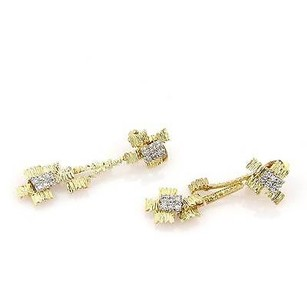 18kt Two Tone Gold Diamond Drop Abstract Dangle Clip On Non Pierced Earrings