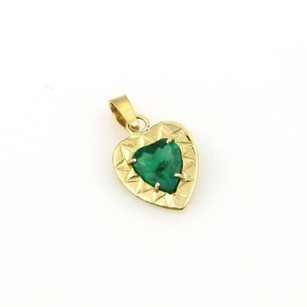 Other 18kt Yellow Gold 1.65ctw Solitaire Heart Shape Emerald Fancy Pendant
