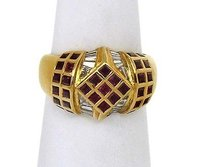18kt Yellow Gold 2.90ctw Diamond Ruby Fancy Design Dome Ring