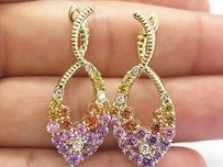 18kt Yellow Orange Purple Pink Sapphire Diamond Yellow Gold Earrings 6.20ct