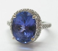 18kt Gem Tanzanite Diamond Anniversary Ring Wg 5.94ct