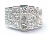 18kt Princess Cut Diamond Cluster White Gold Jewelry Ring 7-row 4.16ct