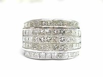18kt Princess Cut Diamond Invisible Set Wide Ring White Gold 4.06ct F-g