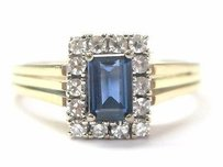 18kt Vintage Gem Sapphire Diamond Anniversary Jewelry Ring Yg 1.21ct