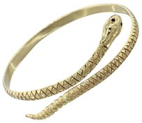 1910s Antique Victorian 14k Solid Yellow Gold Ruby Diamond Snake Bangle Bracelet