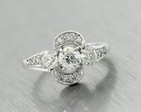 1940s Antique Art Deco Platinum F-g Vvs2 1.03ctw Diamond Engagement Ring Size 5.0