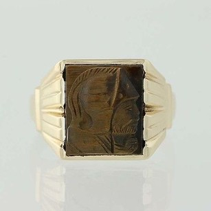 Vintage Carved Tiger Eye Cameo Ring - 10k Yellow Gold Mens