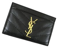 Saint Laurent Saint Laurent YSL Credit Card Holder In Black Caviar