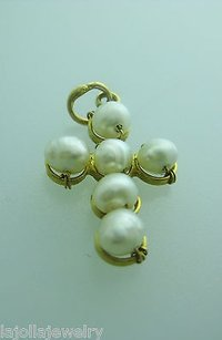 Other 20k Yellow Gold Cross Pearl Pendant Charm Necklace