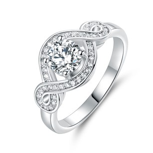 18kt White Gold Plated Cz Engagement Ring #4386