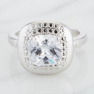 Platinum Plated Engagement Ring With Cushion Cut Cubic Zirconia #4539