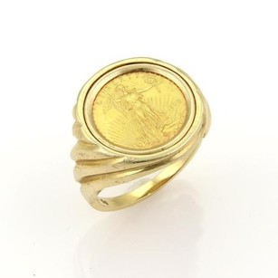 22k Liberty 110 Oz Gold Coin Set In 14k Gold Ring -