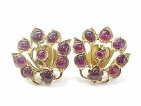 Other 22kt Gem Red Ruby Yellow Gold Stud Flower Earrings 8.00ct