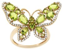 Other 2.35CT PERIDOT QUARTZ 14K ROSE GOLD AND DIAMOND BUTTERFLY RING SIZE 5-8