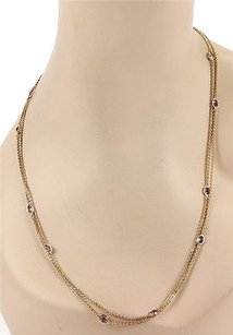 Estate 14k Yellow Gold Amethyst Gemstone By The Yard Necklace 47