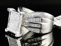 14k Womens White Gold Wedding Bridal Diamond Duo Ring