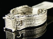 14k Bridal Engagement Round Pave Diamond Ring 1.10 Ct