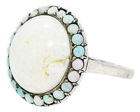 25ct Opal Surrounded By Opals Sterling Silver Ring Antique Hand-crafted