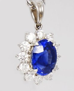 2.60tcw Blue Sapphire And Diamond Platinum White Gold Pendant N54