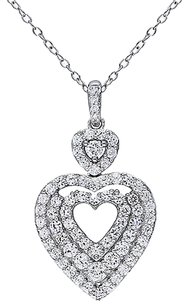 Other Sterling Silver Diamond And 1 34 Ct Sapphire Heart Love Pendant Necklace I2i3