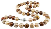Sterling Silver Multi Color Pearl Necklace With Ball Clasp 9-10 Mm