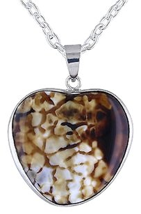 Silvertone Animal Prnt Agate Heart Love Shape Pendant Necklace 18